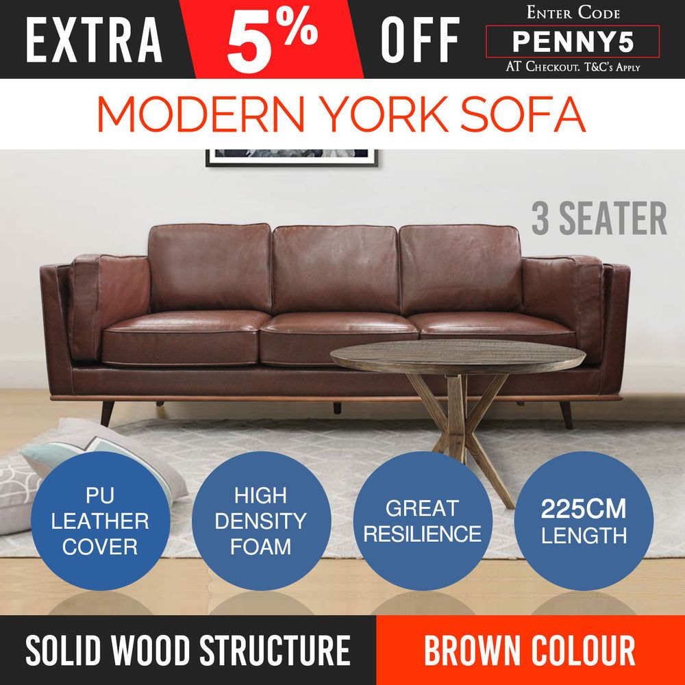New 3 Seater Sofa Couch Brown Leatherette High Density Foam Wooden ...