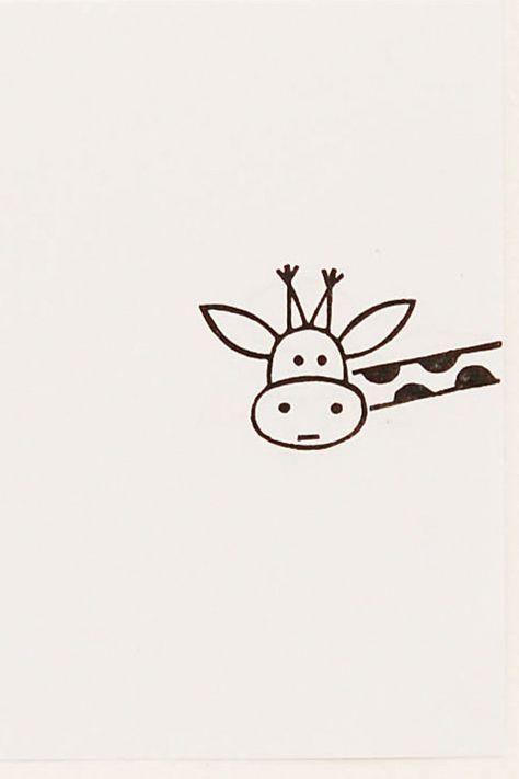 Funny Giraffe peek-a-boo stamp Around the corner by WoodlandTale