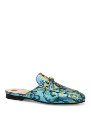 Gucci Princetown Metallic Brocade Loafer Slides kQYjMF0x7