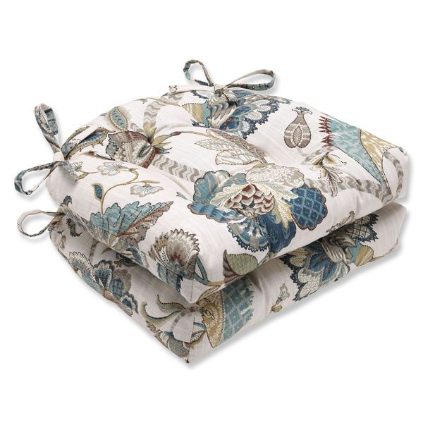 """They are the tie on style and are 100% cotton. Done in Jacobean print in shades of blue and brown on an oatmeal (off white) background. The insides are made of polyester. These pads measure 16"""" by 15 1/2"""" and they are nice and thick measuring 4"""" thick. 