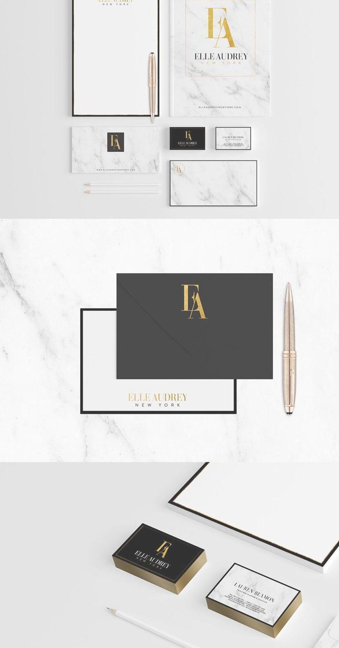 Business Branding Luxury Brand Design Gold Foil And Marble Brand Stationery Design For Elle Audre Luxury Branding Design Stationery Branding Branding Design