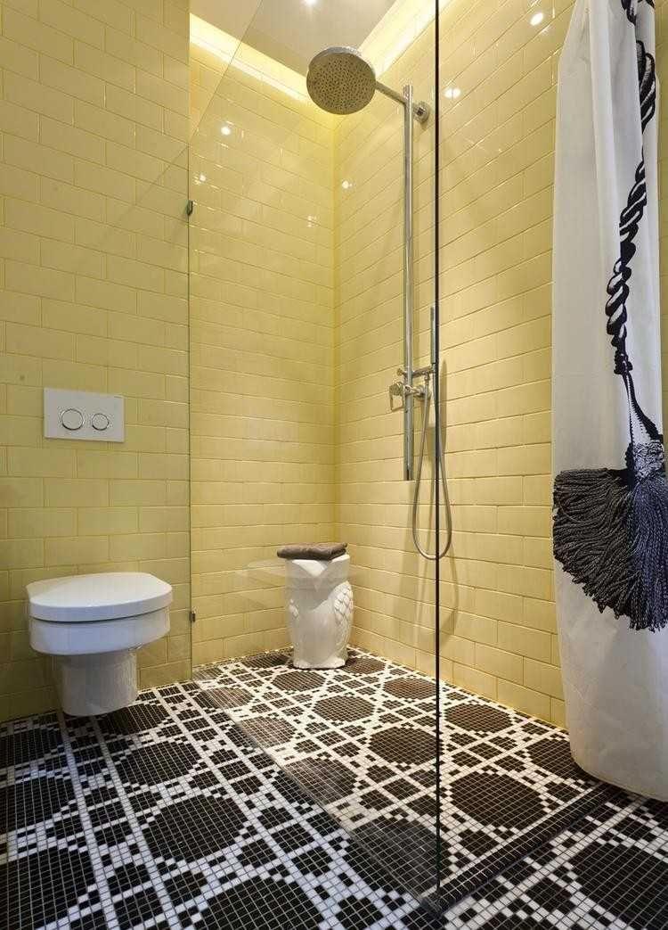 wohnideen badezimmer ohne fenster, wohnideen-badezimmer-ohne-fenster-gelbe-wandfliesen-bodenfliesen, Design ideen
