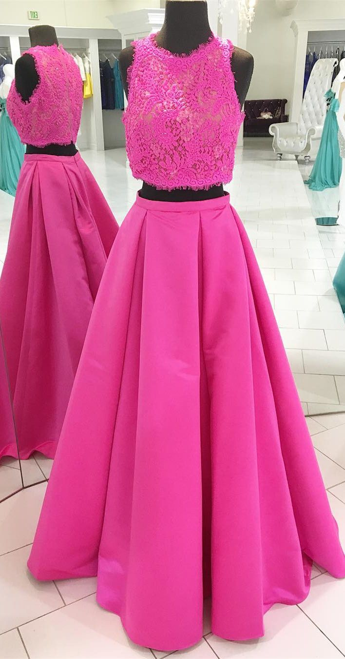 2018 two piece long prom dress, hot pink long prom dress, formal ...