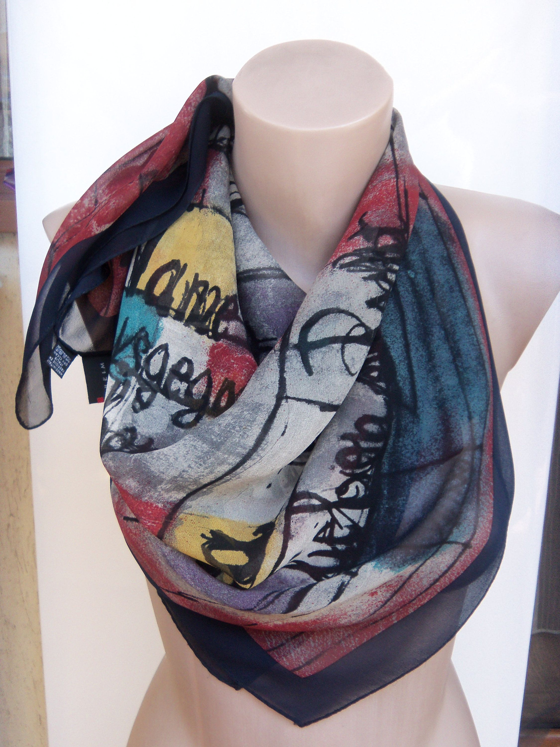Peggy Guggenhem Museum Hand Painted Silk Scarf ,Claret,Nvy Blue,Inscriptions Motive,Made In