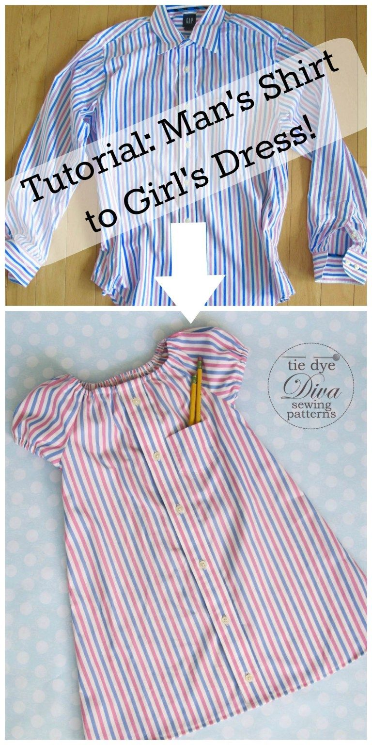 Man's Dress Shirt to Girl's Peasant Dress Upcycle -   18 dress Patterns peasant ideas