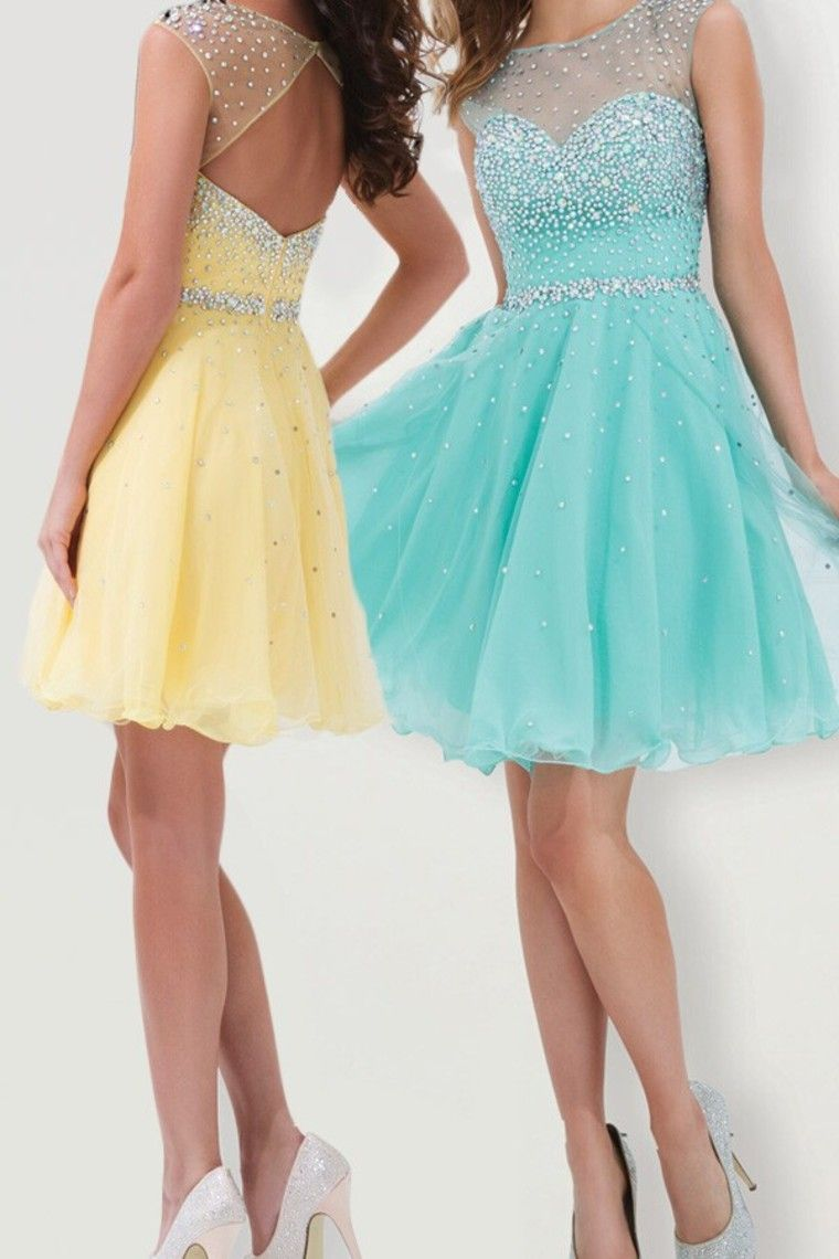 homecoming dresses a line scoop shortmini color ice blue as
