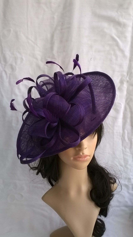 1f9fa8c938a7f Purple Fascinator.Stunning Purple Sinamay Shaped disc Fascinator with double  swirls with Bag