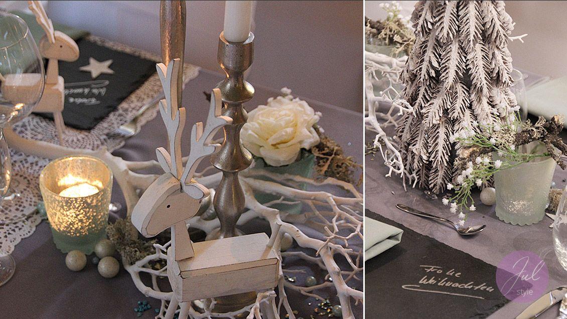 Moderne Weihnachtsdeko mit Holz-Hirsch in Weiß-Grün wwwjulstyle - weihnachtsdeko ideen holz