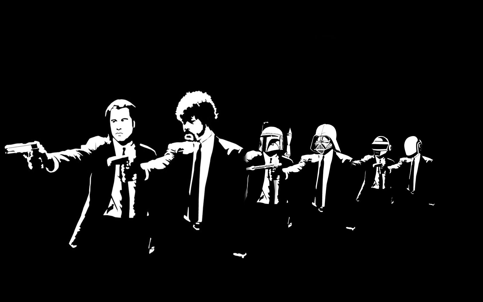 A Homemade Wallpaper For Fans Of Pulp Fiction Star Wars And Daft Punk 1680x1050 R Wallpapers Pulp Fiction Daft Punk Graffiti King