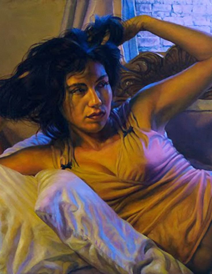 Bill White (American, b. 1947) {contemporary figurative realism art female décolletage torso woman cropped painting detail} <3 Awakened!!