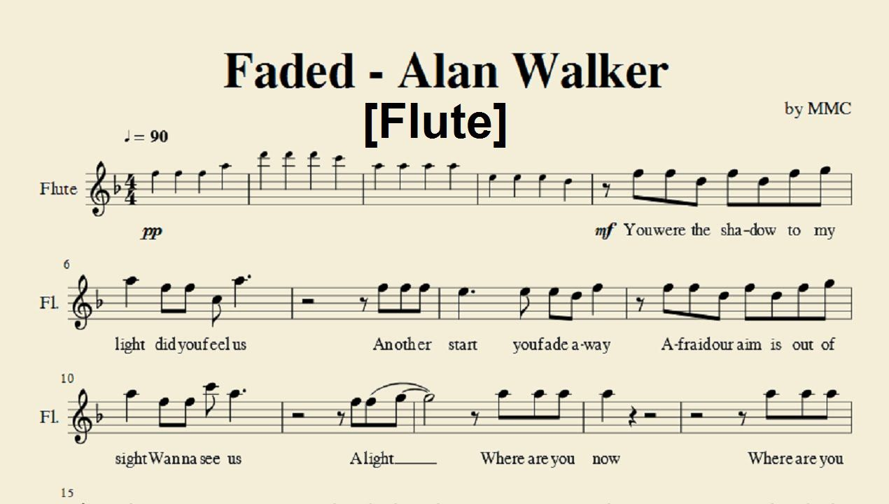 Faded Alan Walker Flute Sheet Music By Mmc Met Afbeeldingen