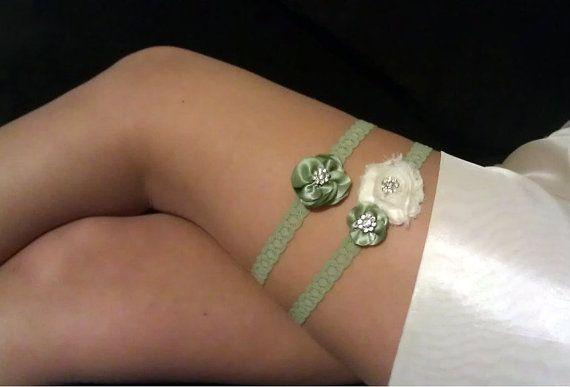 Wedding Garter  Sage Wedding Garter Set  Sage by BellaRomantica, $26.00