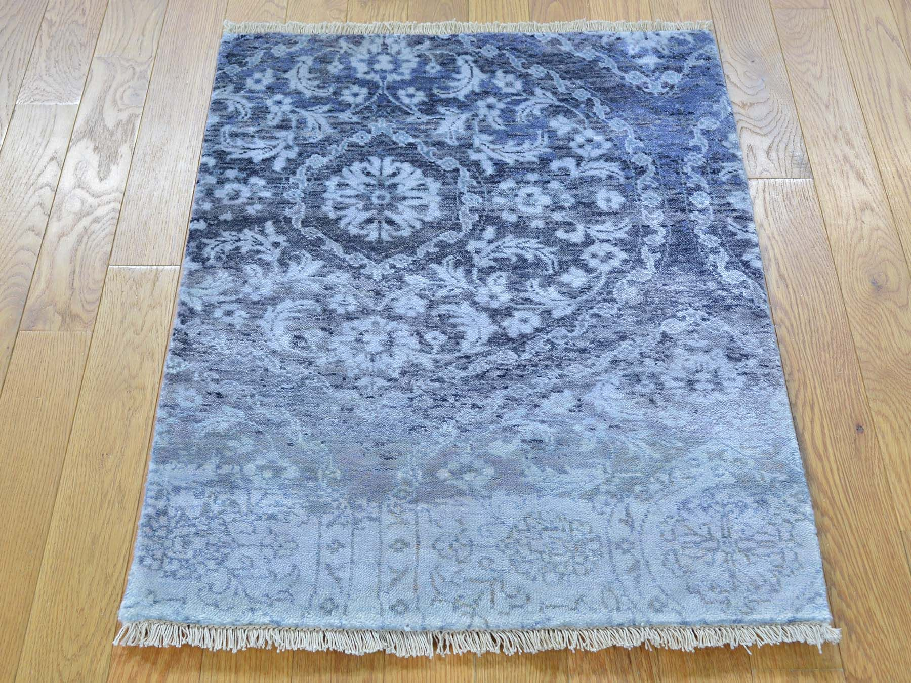 Bamboo Silk Modern Erased Design Hand Knotted Oriental Rug Product 2 X