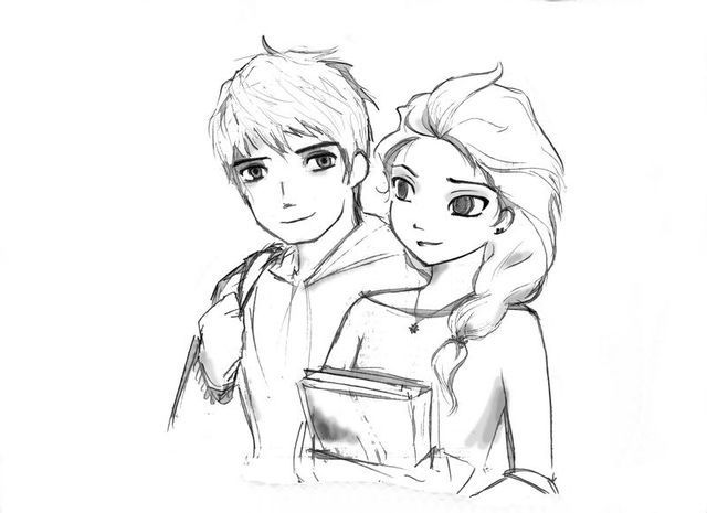 Pin By Santana Garcia On Drawings Jack And Elsa Jack Frost Coloring Pages