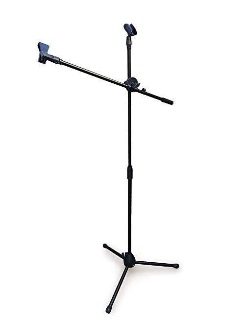 Black Tripod Boom Microphone Stand Convenient Portable