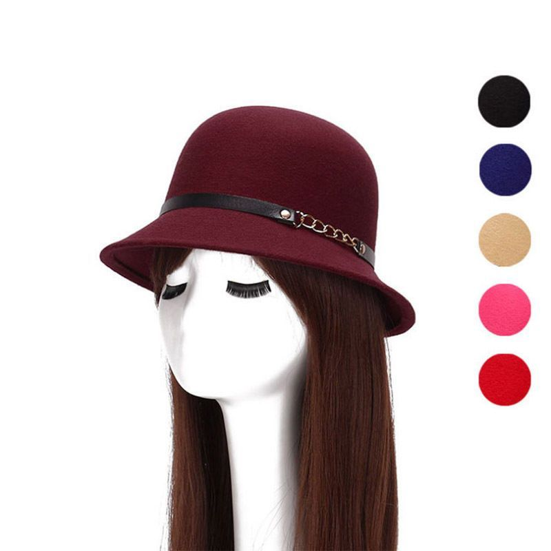 601aac36a8b Fashion Women Metal Chain Felt Hat Imitation Wool Brim Winter Hat Outdoors  Cap
