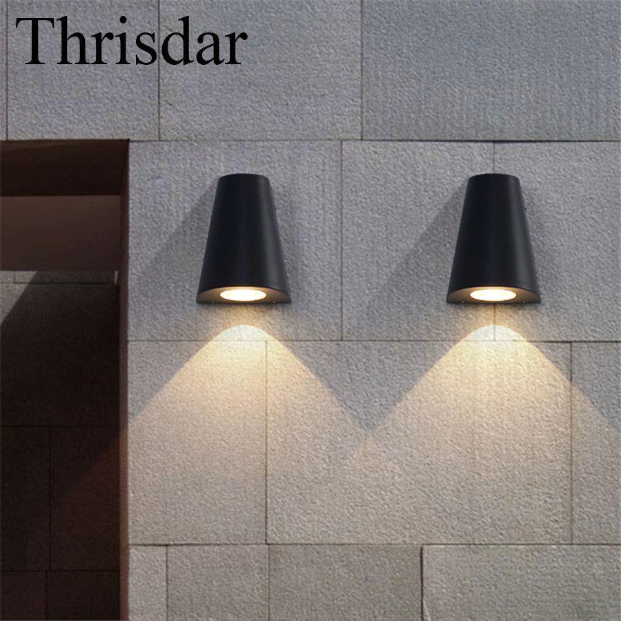 Thrisdar 5w Retro Outdoor Garden Porch Wall Lamp Ip65 Waterproof Garden Yard Corridor Villas Triangle Wall Light Ac Led Porch Light Wall Lights Led Wall Lights