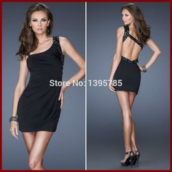 Online Shop Black One Shoulder Rhinestones Pleats Sexy Backless Homecoming Dress Short Cocktail Dresses|Aliexpress Mobile