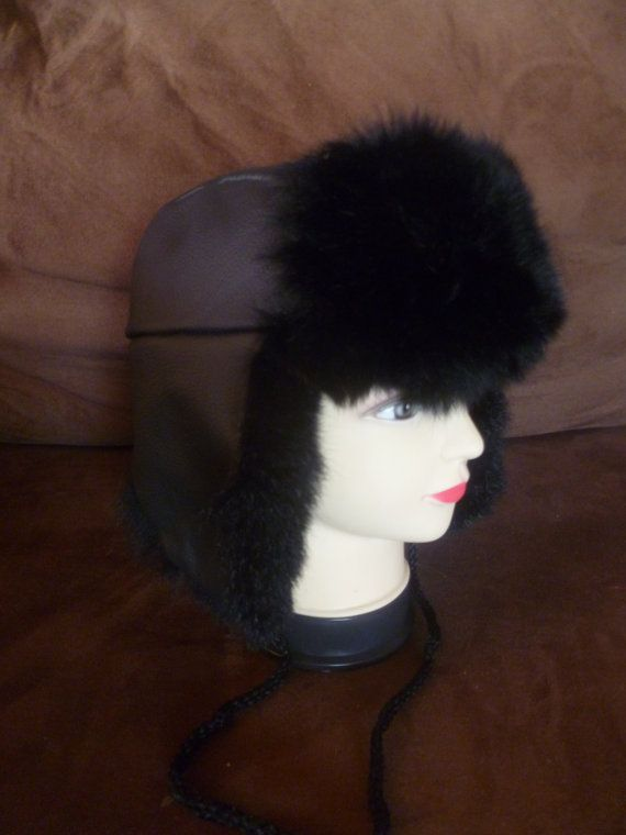 44f2df0d621 New Zealand Dyed Black Possum Fur Black Leather Trapper Hat