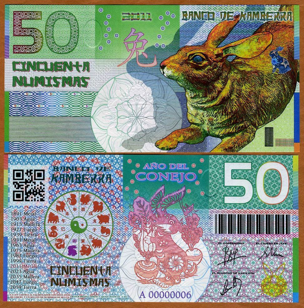 Kamberra is avirtual (fantasy) monarchy. All banknotes are limited issues and are retired after a brief period of issue. Chinese Lunar Cal e ndar. Year Of The Rabbit, Year Of The Monkey, Money For Nothing, Money Notes, Folding Money, People Of The World, Money, Old Coins, Nice