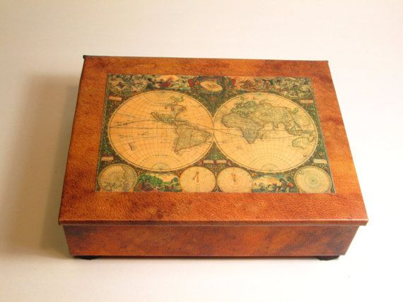 Decorative box vintage look antique world map print desk box decorative box vintage look antique world map gumiabroncs Image collections