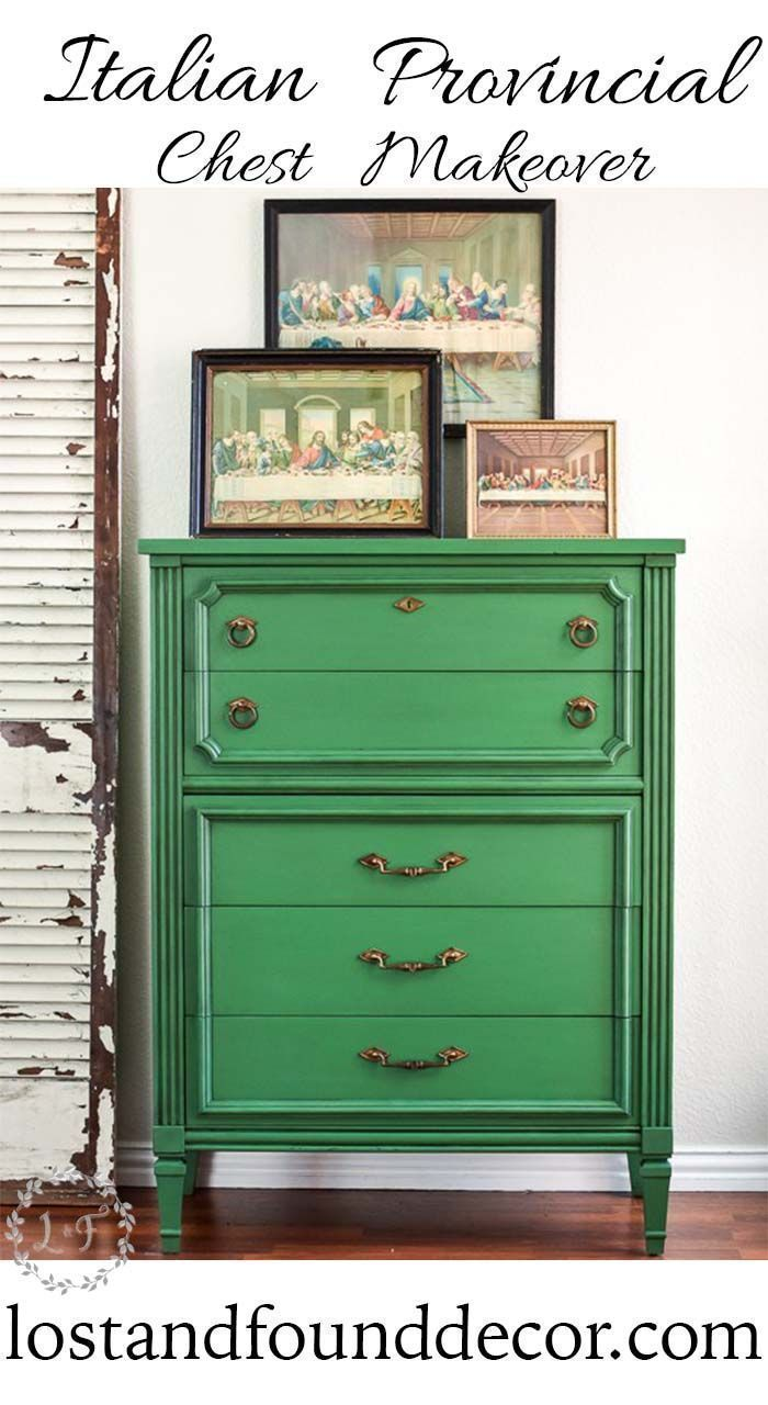 This furniture makeover is a good example of how a bold color can still look cla