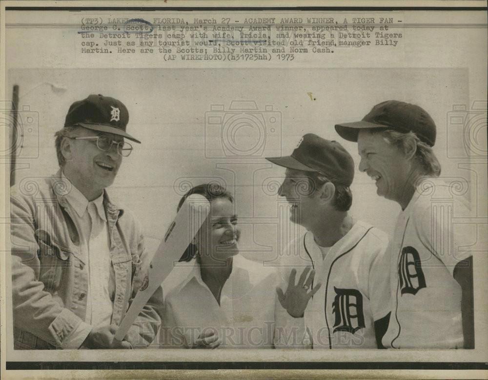 1973 Press Photo George C  Scott at the Detroit Tigers Camp
