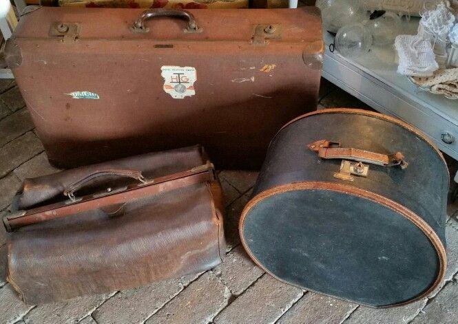 """Antieke brocante hoedendoos, koffer en dokterstas...""""De Kleine Toren"""" (zie facebook)"""