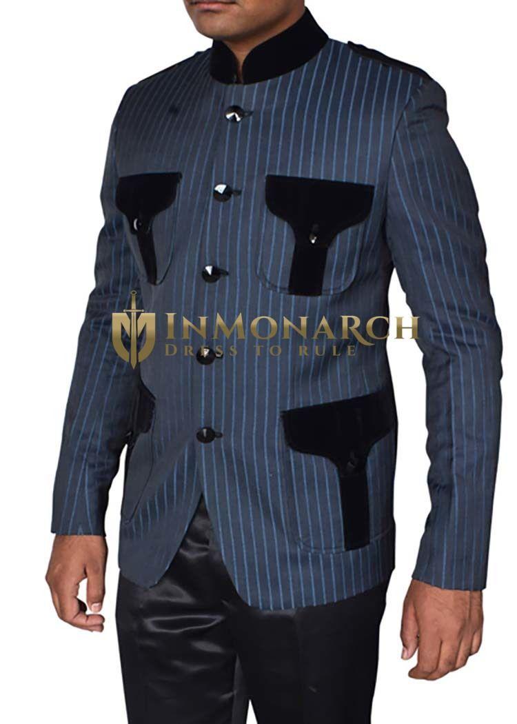 836960f4959 Mens Navy Blue Polyester Jacket Nehru Collar 4 flap-Pockets