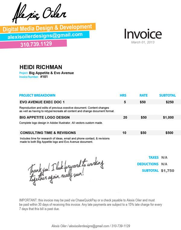 Personal Invoice Design By Alexis Oiler Via Behance  Design