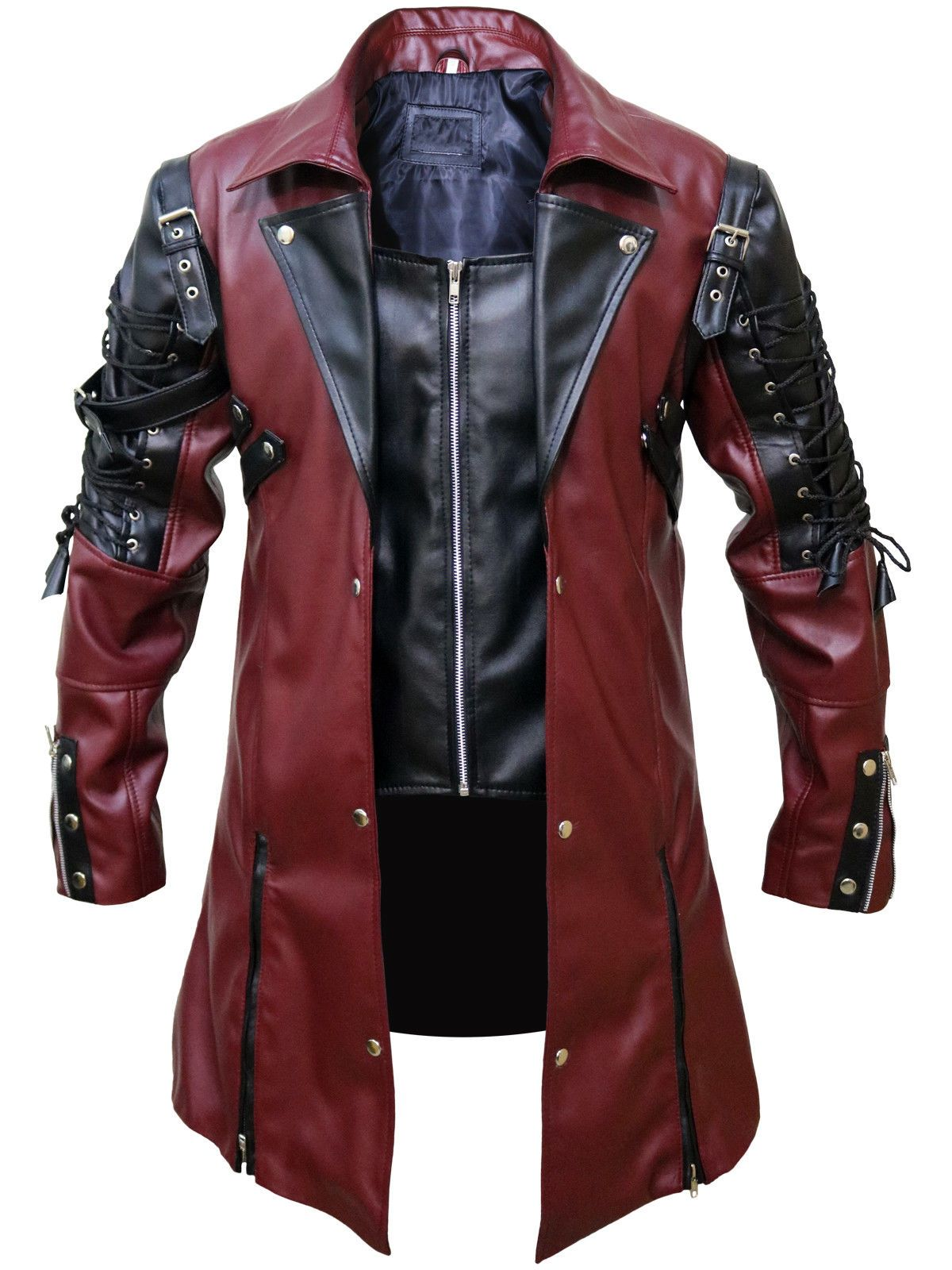 01126bdd917e2 Details about Mens Steampunk Gothic Leather Maroon Coat Jacket in ...
