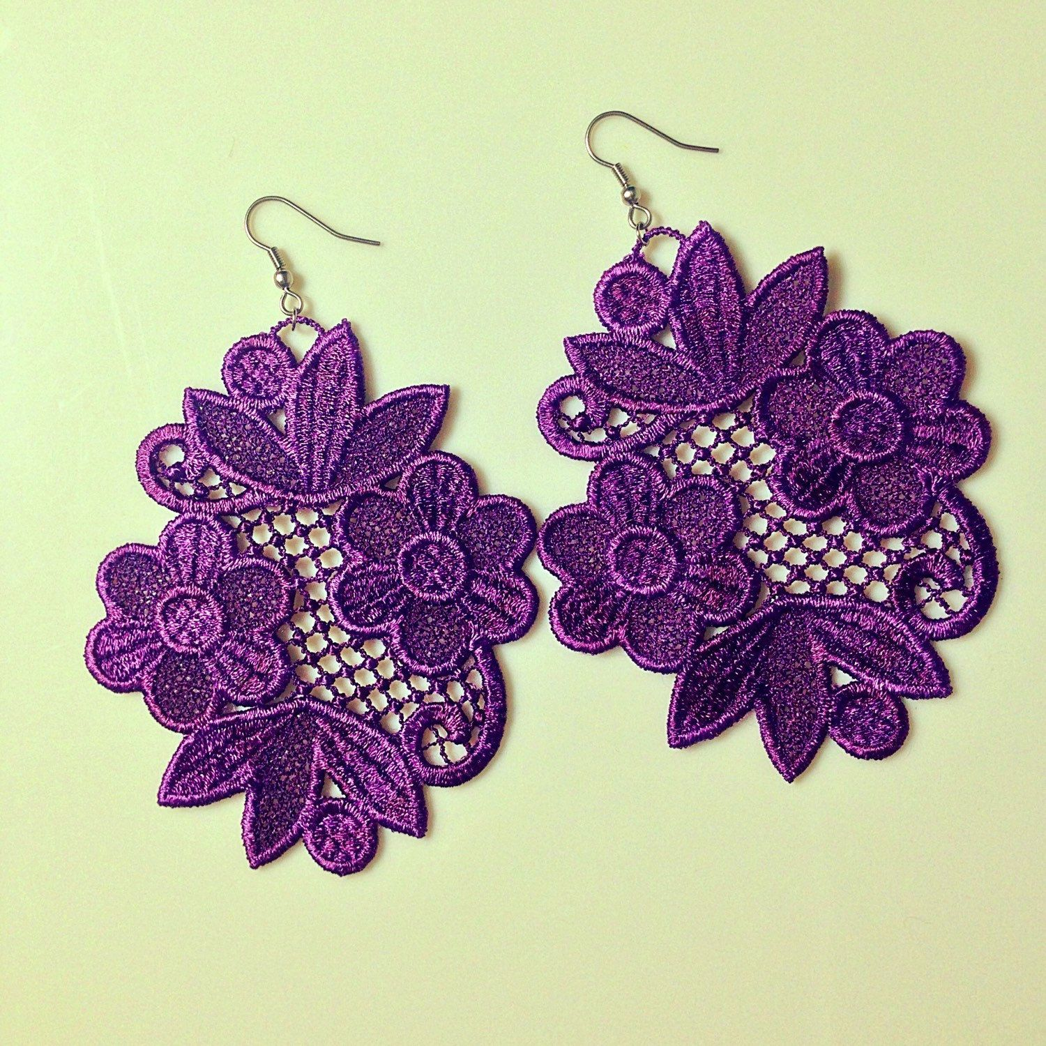 Free Standing Lace Machine Embroidery Design Earrings Jewelry Embroidery Pattern | Machine ...