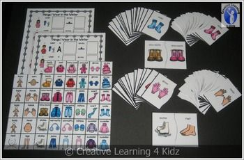 Things I Wear in the Winter Set  (2) Complete the Sentences Boards Board 1 - I wear a _____ on my _____. Board 2 - I wear ______ on my ______. Several winter clothing items to use and body parts.  (2) Sets of Puzzle Cards  that provide 3 different activities. $5.00