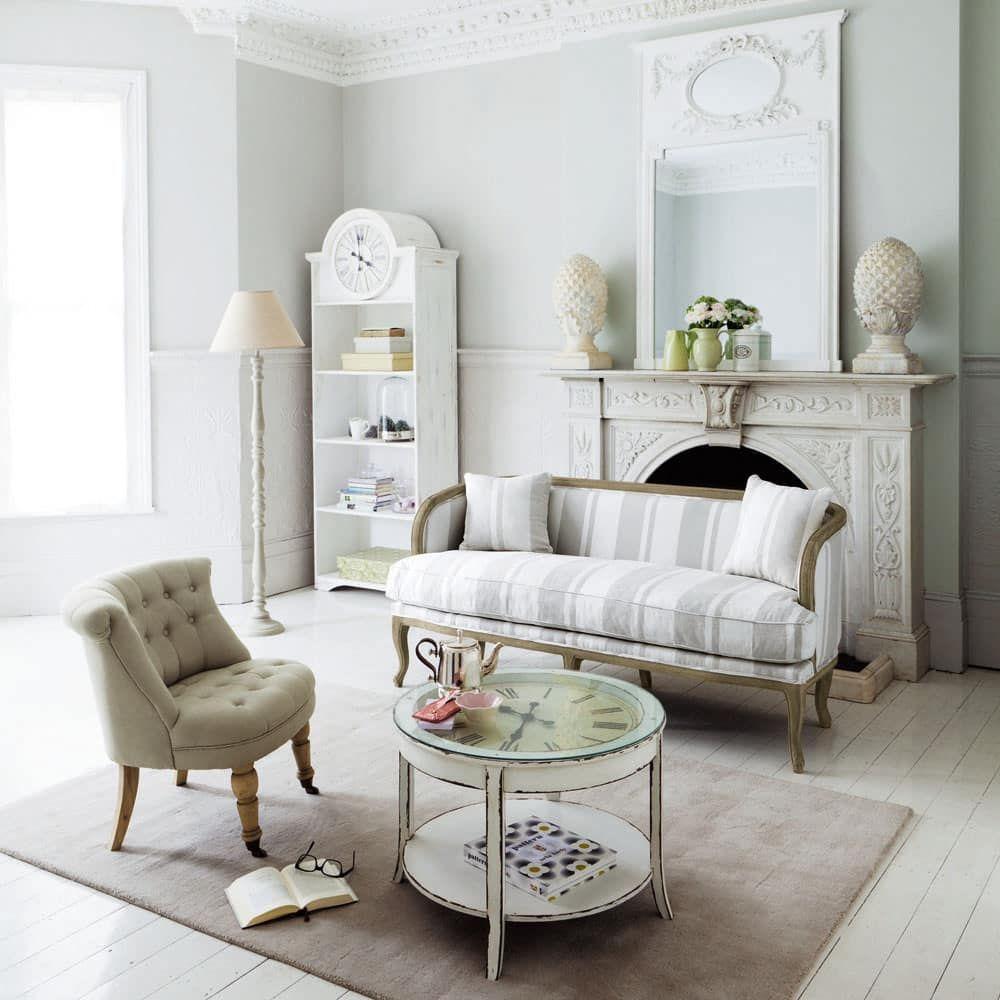 Runder Couchtisch Aus Glas Und Holz Mit Uhr D72 Weiß Antik Teatime Teatime Cottage Style Interiors Cottage Style Furniture Cottage Interiors