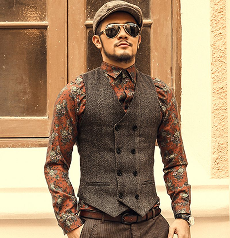 2017 British Style Brown Wool Tweed Vest Men's Suit Vest Slim fit ...