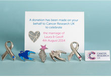 Cancer research pin wedding favours