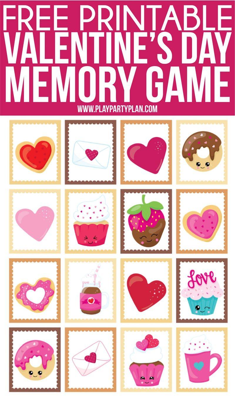 Free printable valentines day memory game valentines