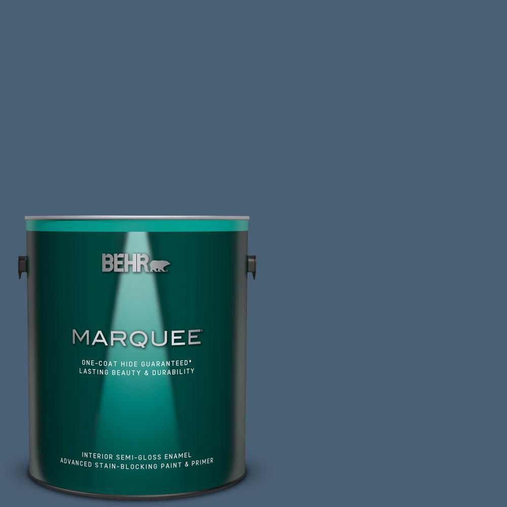 Behr Marquee 1 Gal Ppu14 19 English Channel One Coat Hide Semi Gloss Enamel Interior Paint And Primer In One Behr Marquee Interior Paint Behr Marquee Paint