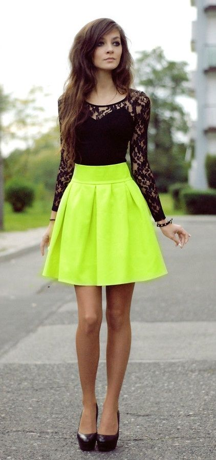 bc20caa01 Black long sleeve lace shirt with bright neon yellow skirt ...