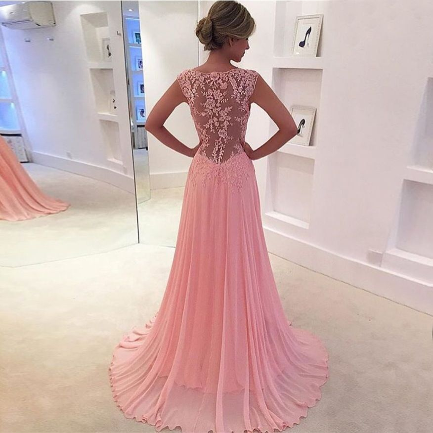 Pink Chiffon Illusion V Neck Prom Gown With Lace Sexy Back | Pinterest