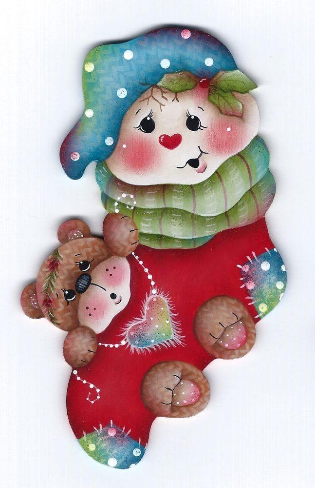 HP SNOWMAN and TEDDY BEAR Stocking FRIDGE MAGNET #Handpainted