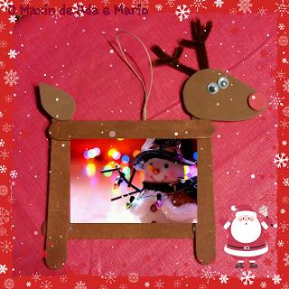 Portafotos con forma de reno reno rodolfo navidad for Manualidades renos navidenos