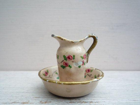 Bathroom Jug antique dolls house miniature jug & bowl, vintage dollhouse