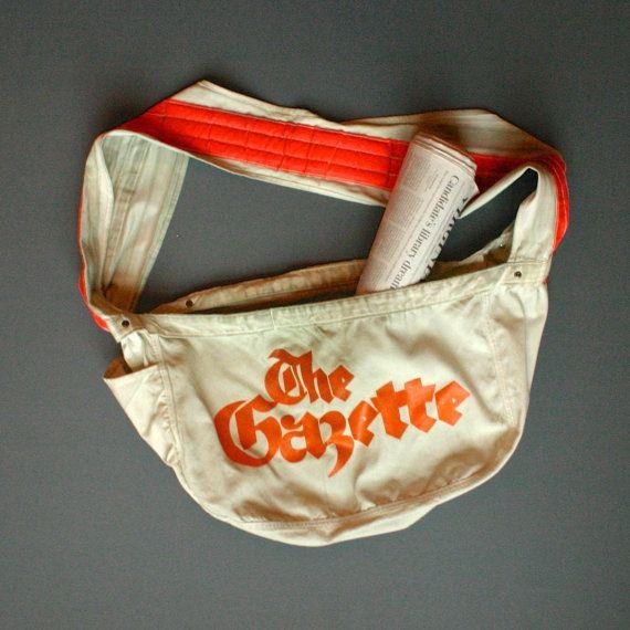 Vintage Newspaper Bag The Gazette Newspaper Delivery Bag Etsy Newspaper Bags Bags Delivery Bag