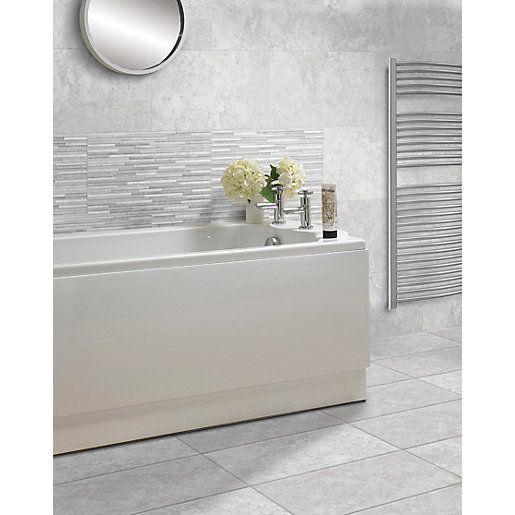 Wickes Mayfield Grey Splitface Ceramic Wall Tile 498 X 298mm