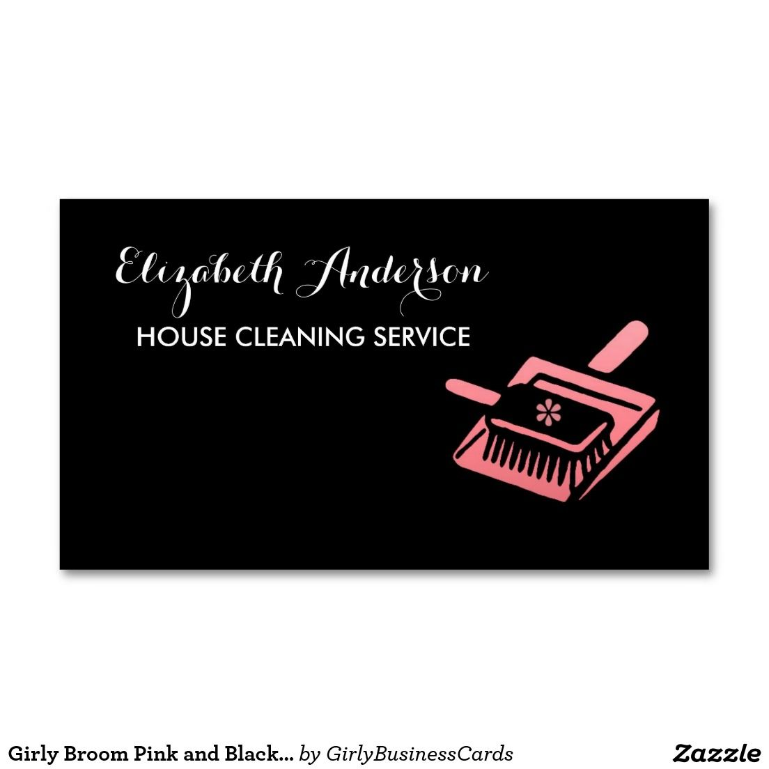 Girly Broom Pink and Black House Cleaning Service Business Card ...