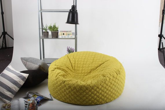 Yellow ,quilted Fabric, Round Beanbag , Living Room, White, Grey, Dark