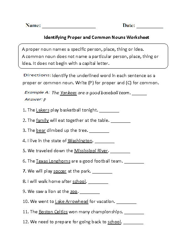 Identifying Proper and Common Nouns Worksheet Part 1 ...