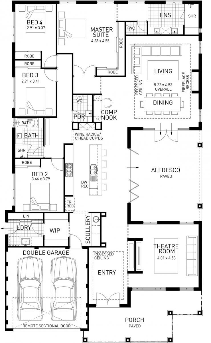 The North Hampton Four Bed Single Storey Home Design House Plans Australia Home Design Floor Plans New House Plans
