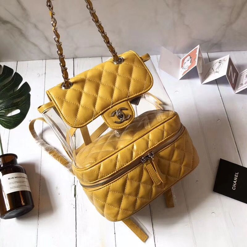 3ce544a10781 Chanel see through backpack shoulders bag